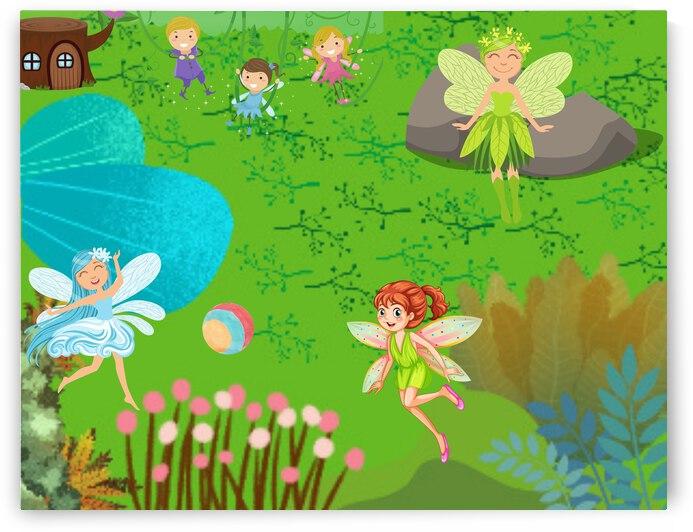 Fairies Playing in a Garden by Jennifer Jones