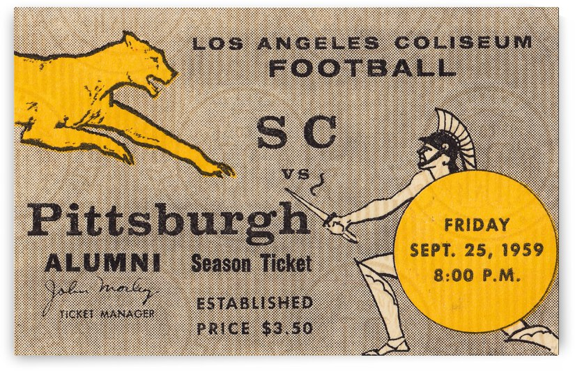 1959 Pittsburgh Panthers vs. USC Trojans by Row One Brand