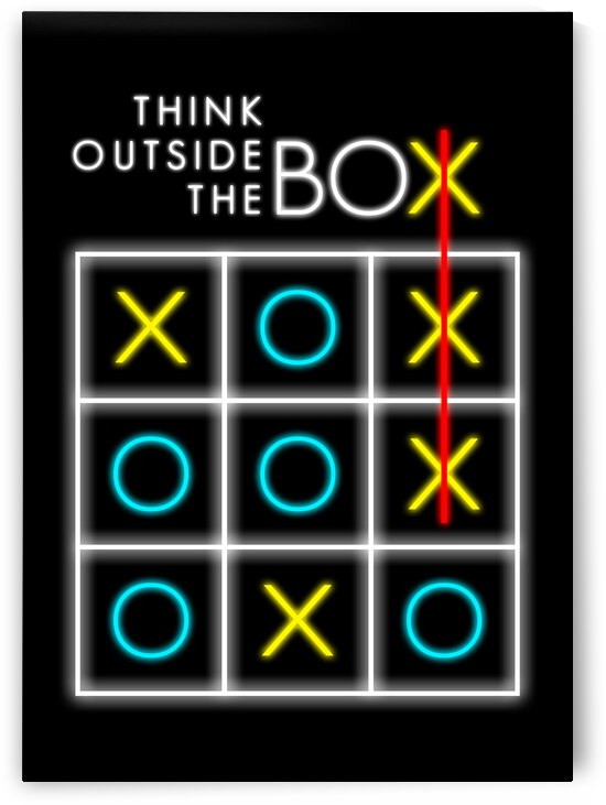 think outside the box neon Motivational Wall Art by ABConcepts