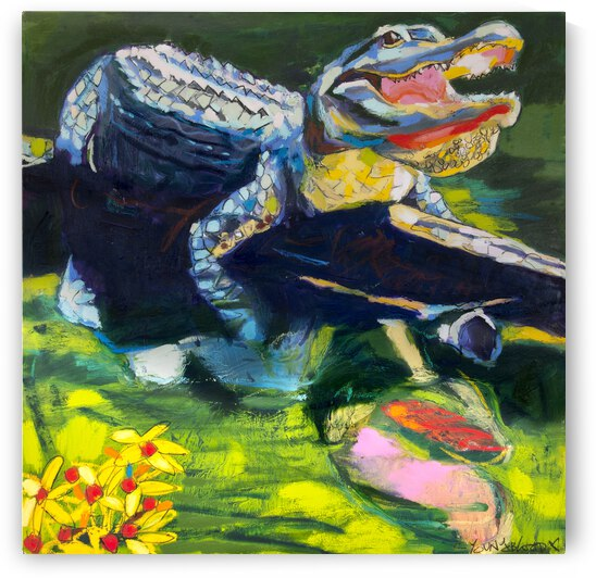 Big Mouth Louisiana Alligator on Log with Reflection and Wildflowers by Caroline Youngblood