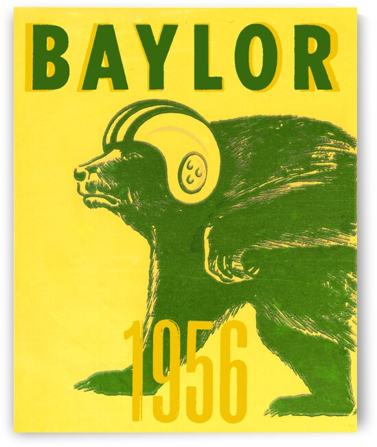 1956 Baylor Bears Vintage Football Art Remix by Row One Brand