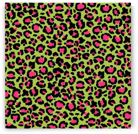 Leopard Pattern in Raspberry on Lime Green by Photography and Digital Art By Colleen