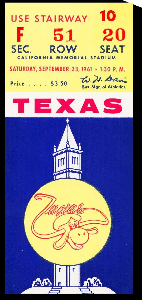 1961 California Bears vs. Texas Longhorns by Row One Brand