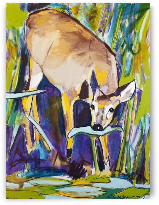 Young Female Deer with Lily Pads at Bayou Bank by Caroline Youngblood