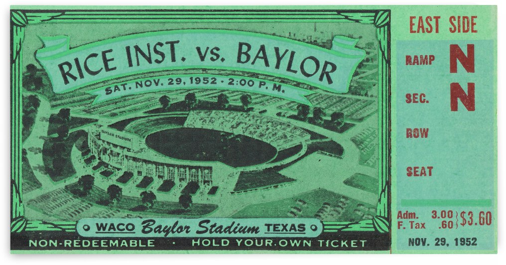 1952 Rice Owls vs. Baylor Bears by Row One Brand