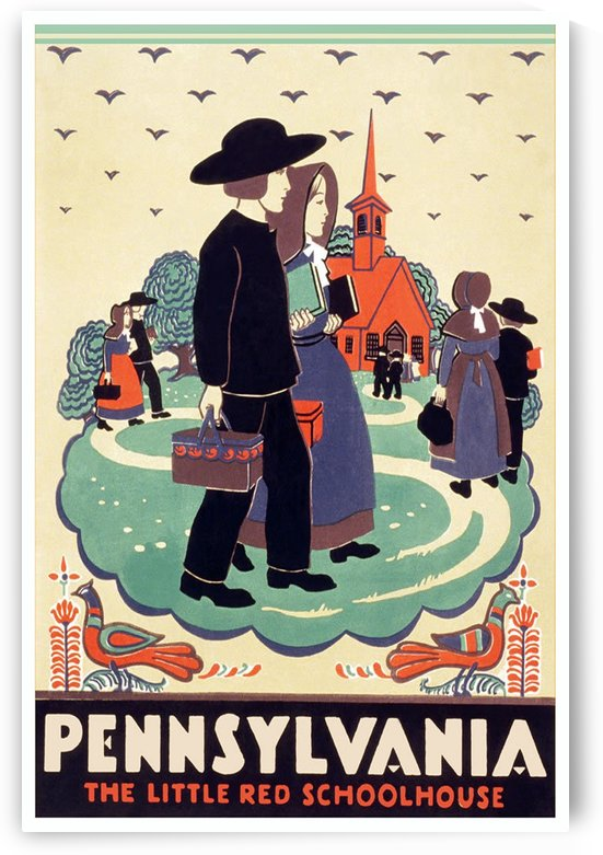 Pennsylvania The little red schoolhouse vintage travel poster by VINTAGE POSTER