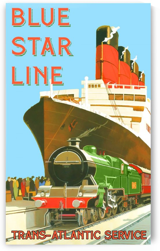 Blue Star Line Trans Atlantic Service by VINTAGE POSTER