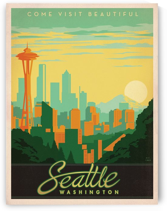 Come visit beautiful Seattle Washington travel poster by VINTAGE POSTER