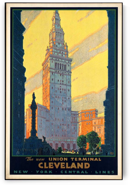 New York The New Union Terminal Cleveland Vintage Poster by VINTAGE POSTER