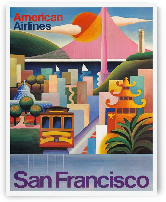 American Airlines San Francisco Vintage Travel Poster by VINTAGE POSTER