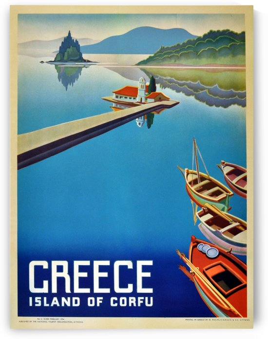 Island of Corfu, Greece Vintage Travel Poster by VINTAGE POSTER