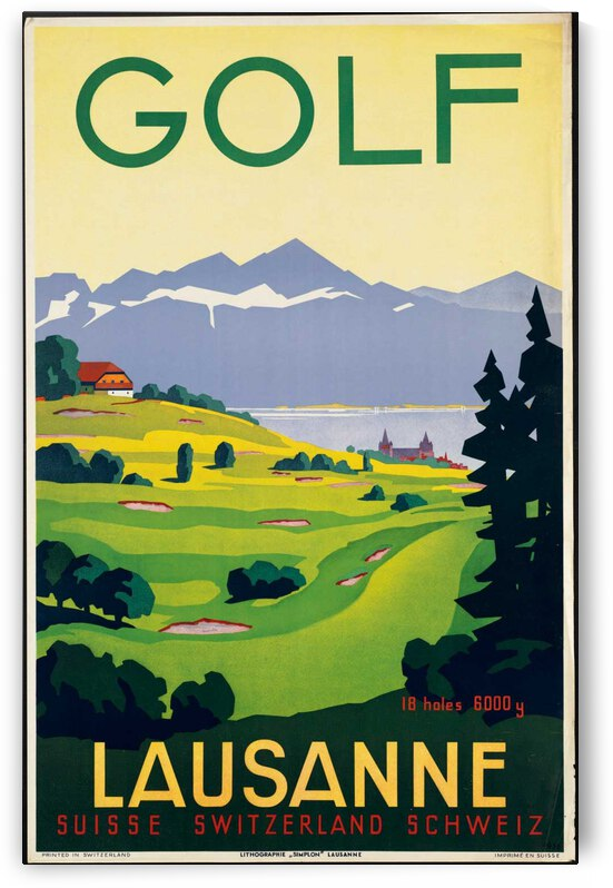 Golf Lausanne Vintage Poster by VINTAGE POSTER