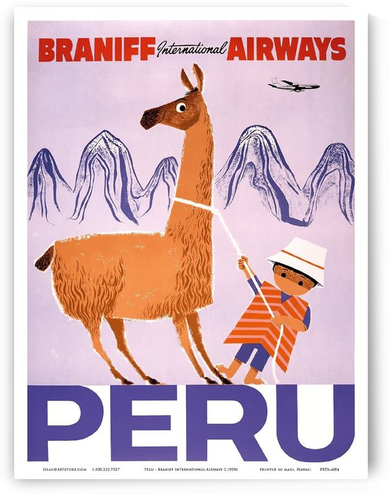 Peru - Braniff International Airways - Native Boy with Llama by VINTAGE POSTER