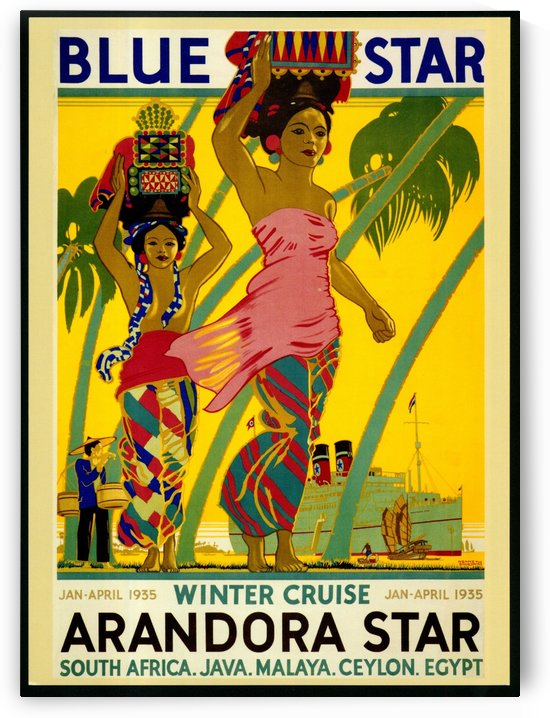 Blue star Winter Cruise vintage travel poster by VINTAGE POSTER