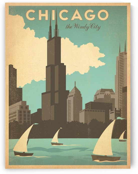 Chicago the Windy City American travel poster by VINTAGE POSTER