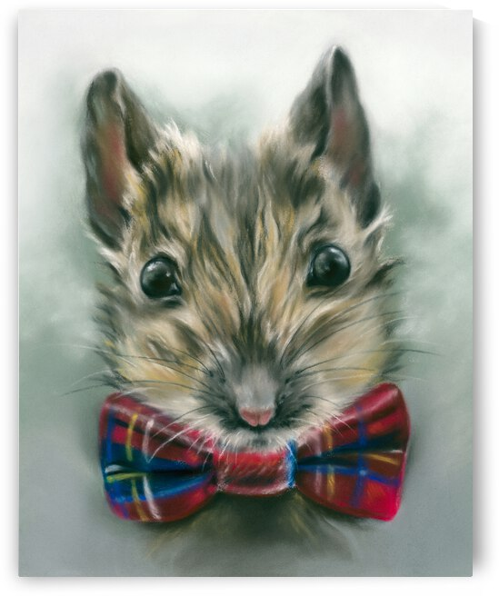 Mouse with a Tartan Bow Tie by MM Anderson
