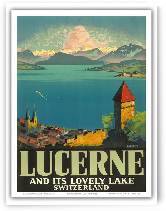 Lucerne and its lovely lake Switzerland travel poster by VINTAGE POSTER