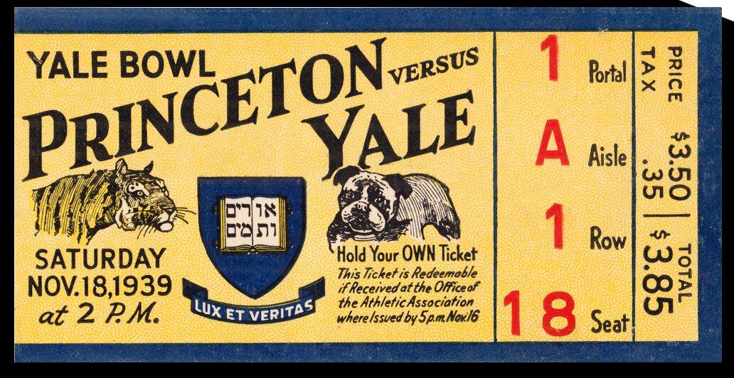 1939 Princeton Tigers vs. Yale Bulldogs   Row 1 by Row One Brand