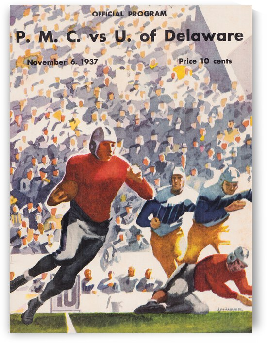 1937 Delaware Fightin Blue Hens Football Program Art | Row 1 by Row One Brand
