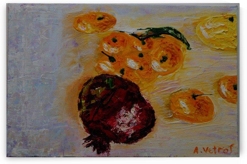 Tangerines with 1. 2014 grenade painter Alik Vetrof MDF Oil on canvas 20x30 cm by Vetrof Alik