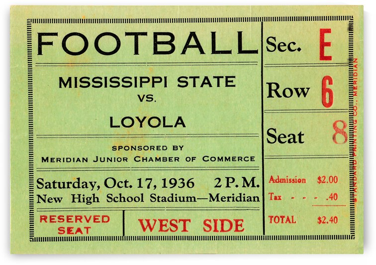 1936 Mississippi State Maroons vs. Loyola College Wolfpack   Row 1 by Row One Brand