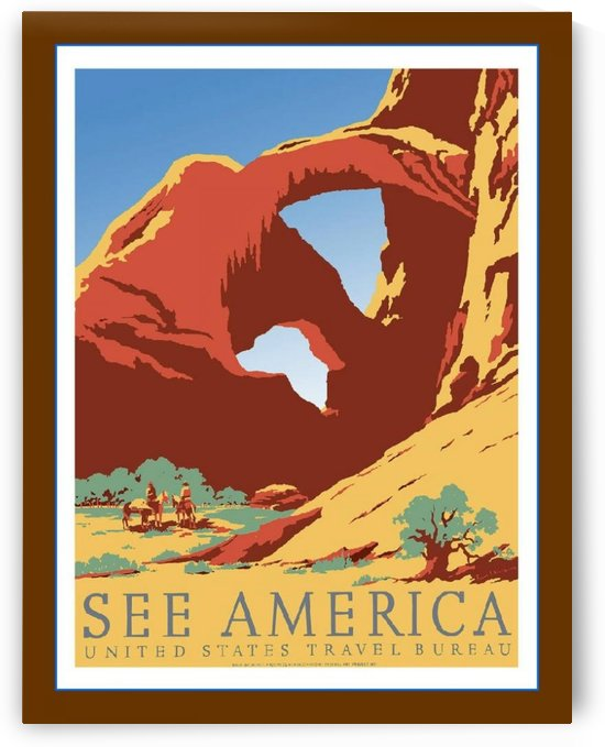 Travel to Bryce Canyon red rocks US Travel bureau poster 1940 by VINTAGE POSTER