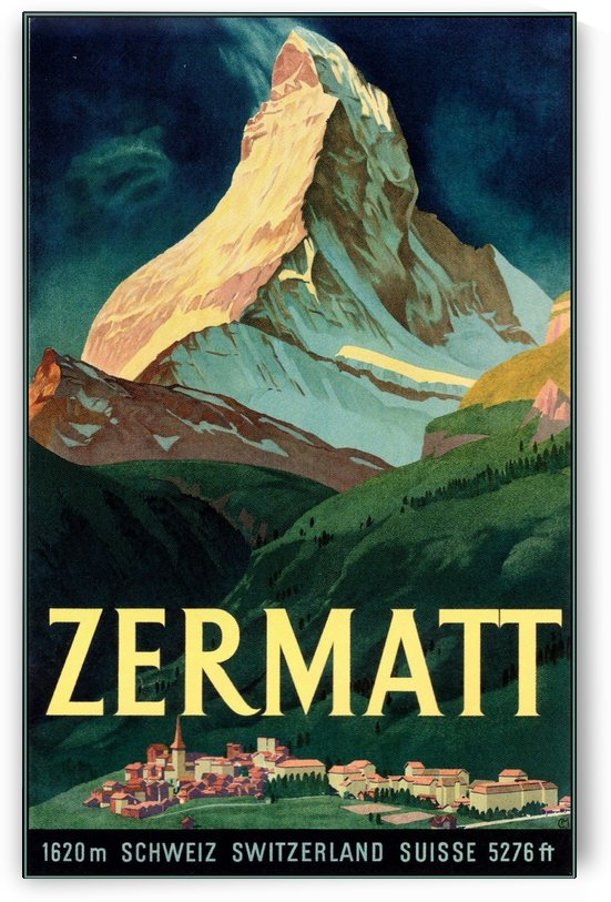 Vintage Zermatt Switzerland Travel Poster by VINTAGE POSTER