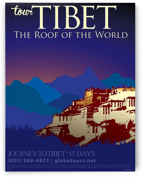 Tibet the roof of the world travel poster by VINTAGE POSTER