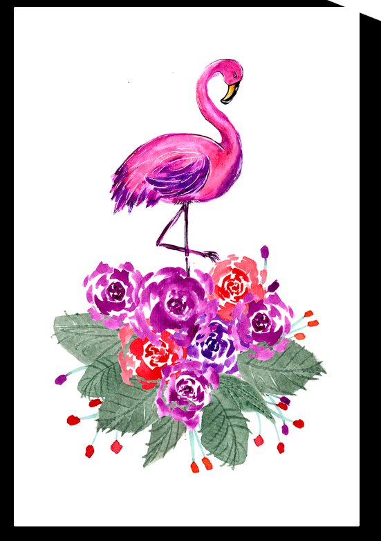 Pink Flamingo and Roses by ZeichenbloQ