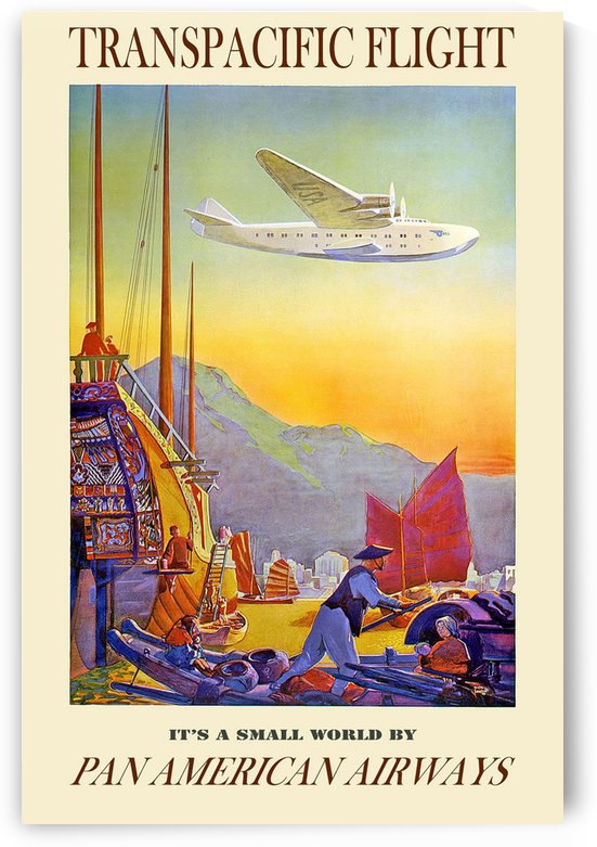 Transpacific flight Pan American Airways by VINTAGE POSTER