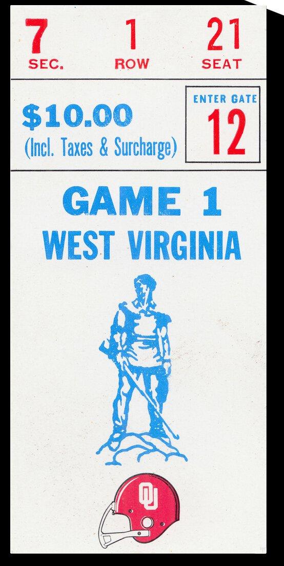 1982 West Virginia vs. Oklahoma   Row 1 by Row One Brand