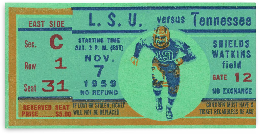 1959 LSU Tigers vs. Tennessee Vols | Row 1 by Row One Brand