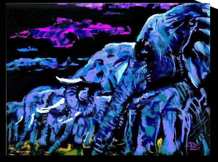 Pachyderm Profile Print by Lowell Phoenix Devin