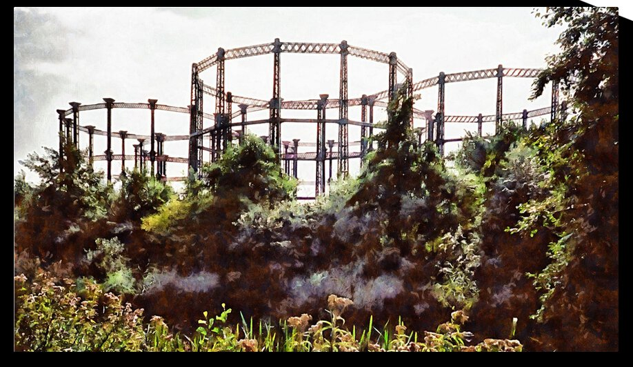 Historic Gasometers Kings Cross London by Dorothy Berry-Lound