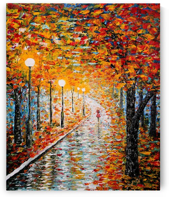 Rainy Autumn Day palette knife original acrylic by Georgeta Blanaru