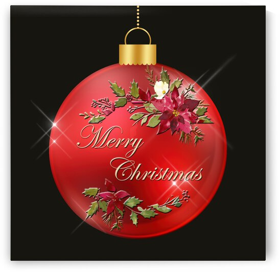 Ornament-Merry Christmas Poinsettias by HH Photography of Florida