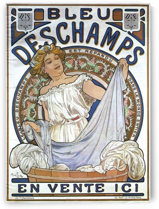 Bleu Deschamps Alphonse Mucha Art Nouveau Vintage Poster 1897 by VINTAGE POSTER