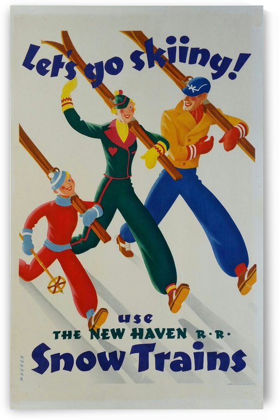 Affiche originale Ski Lets go skiing Use the New Haven snow trains Sascha Maurer by VINTAGE POSTER