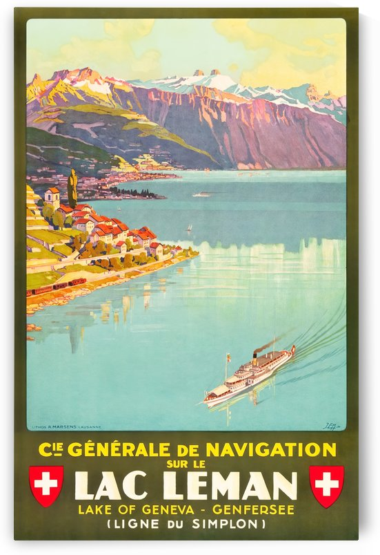 Lac Leman travel poster by VINTAGE POSTER