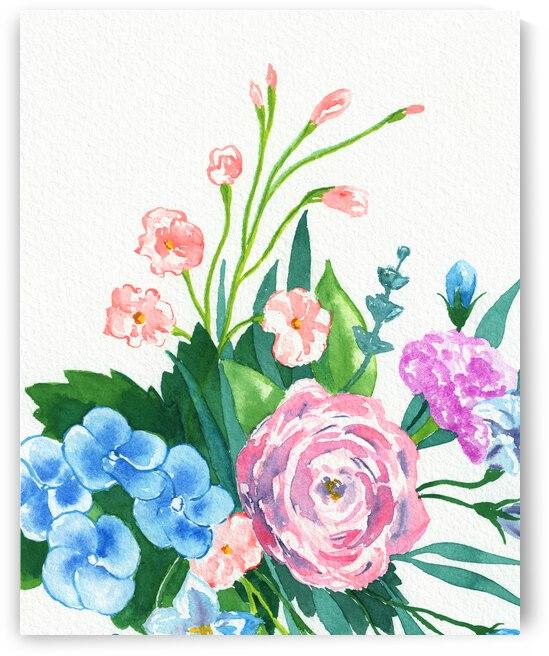 Fresh Pastel Colors Watercolor Flowers Bouquet II by Irina Sztukowski