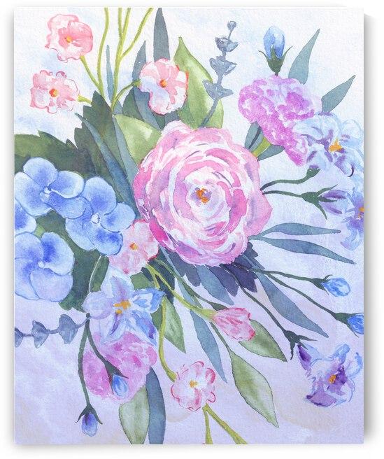 Fresh Pastel Colors Watercolor Flowers Bouquet VI by Irina Sztukowski