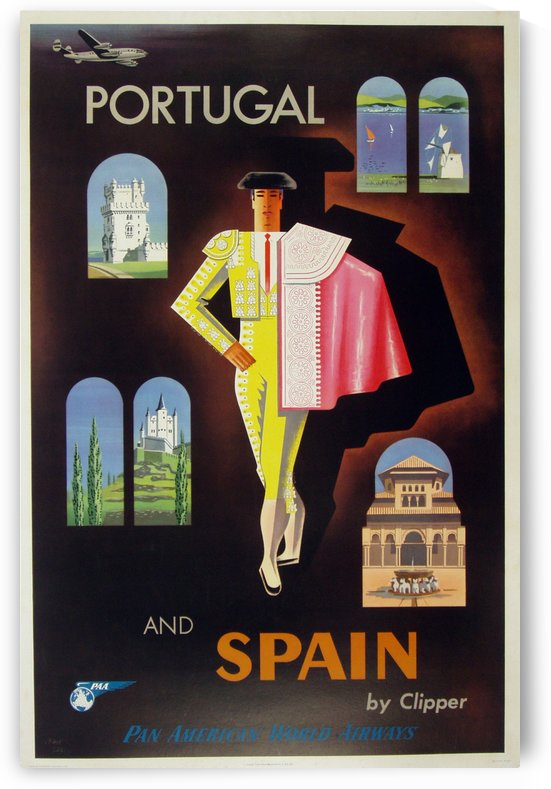 A photograph of Portugal and Spain by Clipper Poster by VINTAGE POSTER