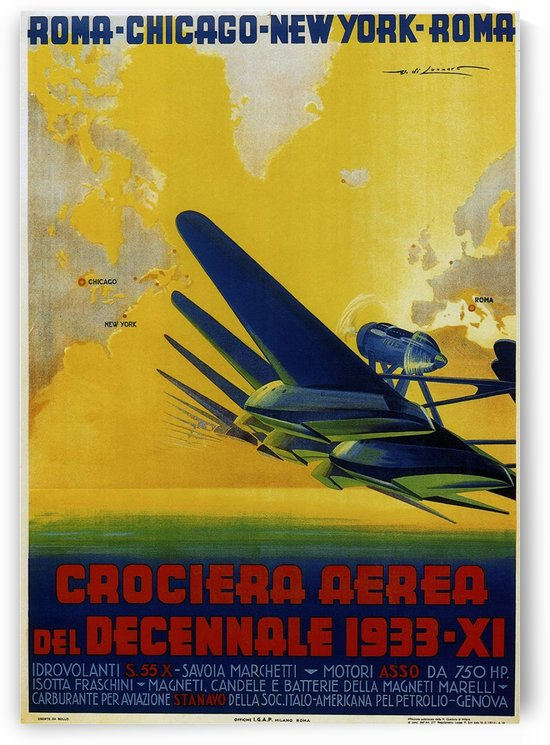 Air Cruisers Crociera Aerea 1933 poster by VINTAGE POSTER