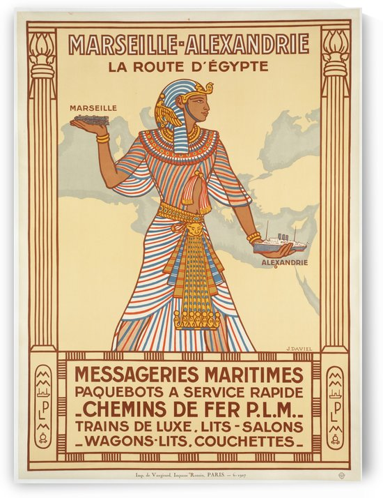 Vintage Travel Poster Egypt Marseille by VINTAGE POSTER