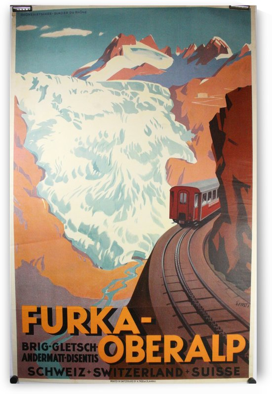 Furka Overalp Swiss Travel Poster by VINTAGE POSTER