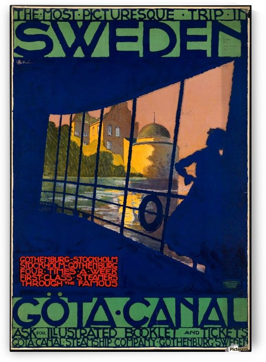 Sweden Gota Canal travel poster by VINTAGE POSTER