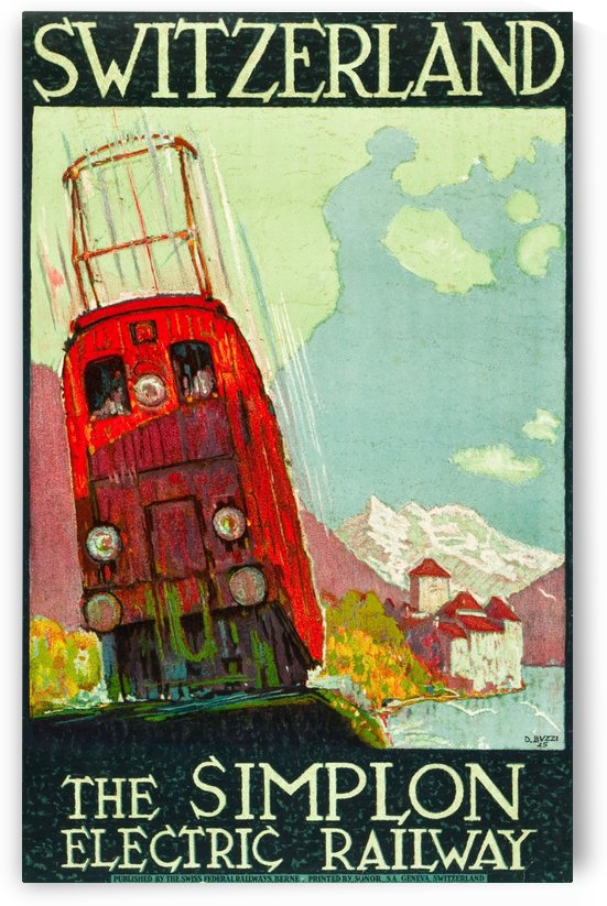 The Simplon Electric Railway, Switzerland Travel Poster by VINTAGE POSTER