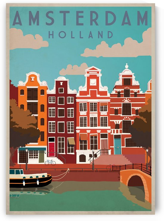Amsterdam Vintage Travel Poster by VINTAGE POSTER