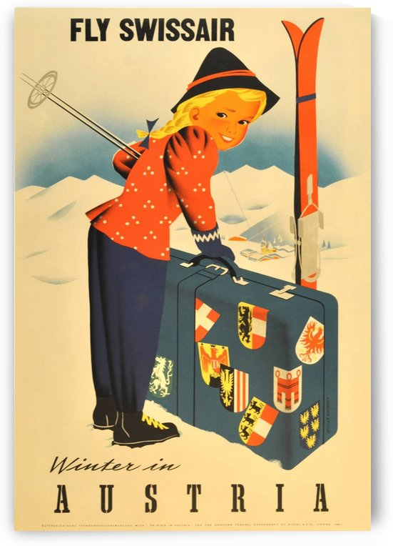 Original vintage ski poster promoting winter sports in Austria, Fly Swissair by VINTAGE POSTER