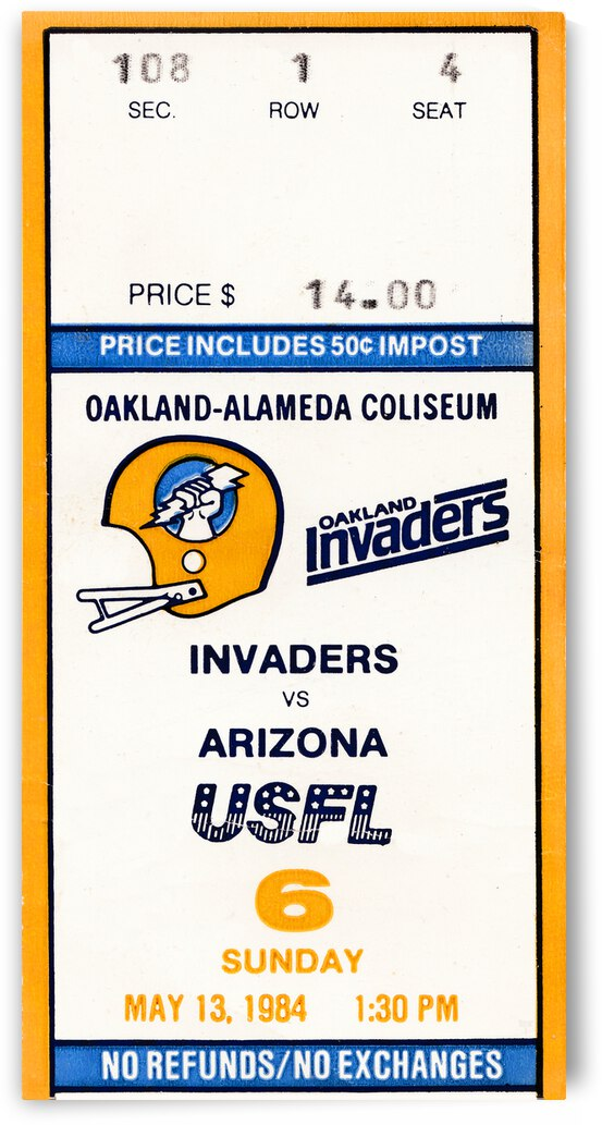 1984 Oakland Invaders vs. Arizona Wranglers   Row 1 by Row One Brand